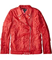 Oscar de la Renta Childrenswear - Moto Zip Textured Leather Jacket (Little Kids/Big Kids)