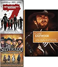 Acclaimed Star Man no Name With Clint Eastwood Fistful & Few More Dollars / Good Bad & Ugly + Hang 'em High + 2016 Magnificent Seven Denzel Washington & Silverado DVD Western Rides, Horses & Guns Pack