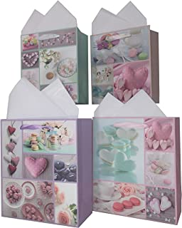 LARUX Gift Bag for Birthday Anniversary Mother's Day San Valentine with Wrapping Tissue Paper Long Lasting Small Size Set of 4 (Cookie Heart)