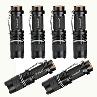 HAUSBELL Flashlights, Handheld Flashlights, 7W Mini LED Flashlights, Tactical Flashlights, Zoomable, High Lumen, Water Resistant, 3 Light Modes for Camping, Hiking, Kids, Outdoor 6 Pack