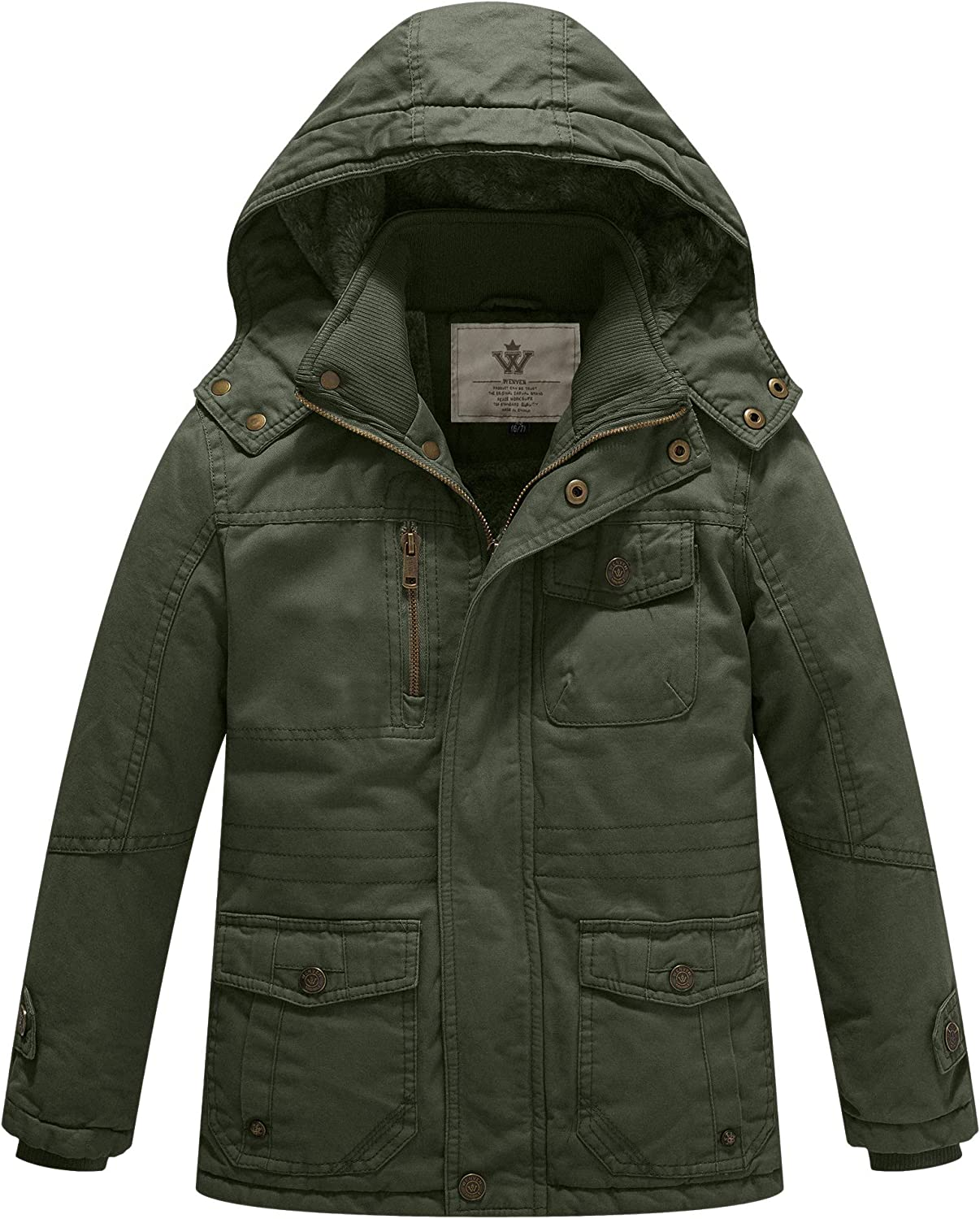 WenVen Boys /& Girls Cotton thick sherpa lined Jacket with Removable Hood