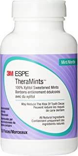 3M Oral Care ESPE 12119M TheraMints 100% Xylitol Sweetened Mints, Mint Flavor, 520 Mint Bottle with Travel Tin