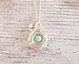 Mother's Necklace, One Child, Bird's Nest, Jewelry, Silver Bird Nest, Wire Wrapped, Robin Egg Necklace, Mama Bird
