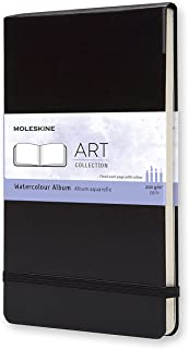 Moleskine Watercolour Hard Cover Notebook - Plain - Large - Black, (MM804)