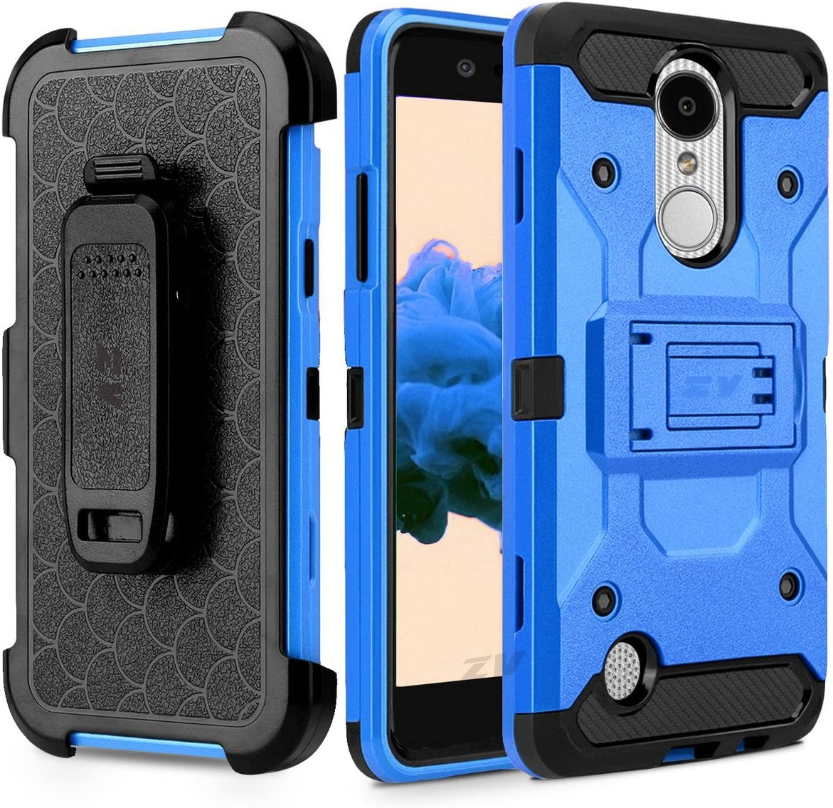Luckiefind Case Compatible with LG Q7 / LG Q7+ Plus, Heavy Duty Armor Case with Belt Swivel Clip and Kickstand (Blue)