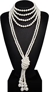 """BABEYOND Art Deco Fashion Faux Pearls Flapper Beads Cluster Long Pearl Necklace 55"""" Diameter of Pearl 0.315"""""""