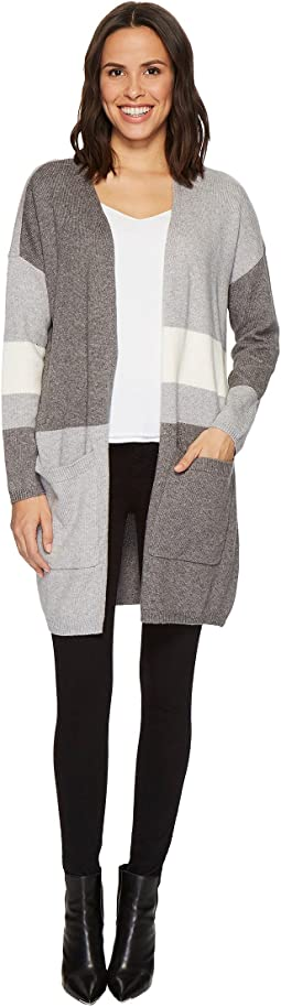 Vince Camuto Long Sleeve Color Blocked Maxi Cardigan