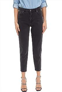 Defacto High-Rise Mom-Fit Side-Pocket Denim Pants for Women