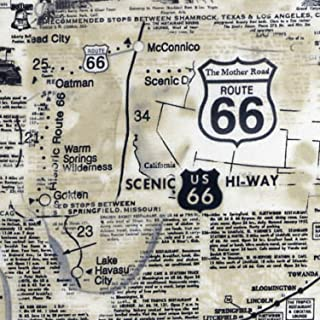 Route 66 Map Timeless Treasures 100% Cotton Quilt Fabric C7529 Natural