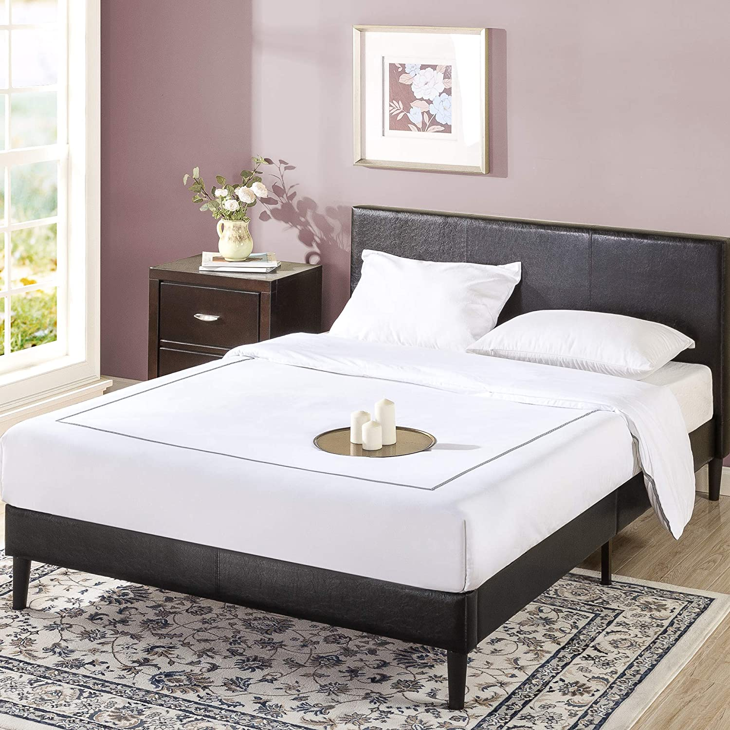Max 79% OFF ZINUS Jade NEW Faux Leather Upholstered Platform Frame Bed Shor with