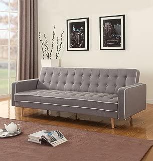 Mid-Century Modern Two Tone Vintage Linen Sleeper Futon Sofa, Grey, Beige, Red (Light Grey)