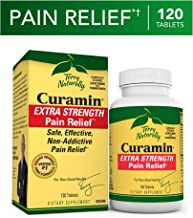 Terry Naturally Curamin Extra Strength - 120 Vegan Tablets - Non-Addictive Pain Relief Supplement with Curcumin from Turmeric, Boswellia & DLPA - Non-GMO, Gluten-Free - 40 Servings