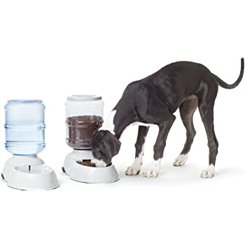 AmazonBasics Gravity Pet Food Feeder and Water Dispensers