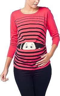 FRAUIT Maglia Premaman Manica Lunga Divertenti Premaman Abbigliamento Primavera T Shirt maternit/à con Stampa Pinguino di Cartone Animato