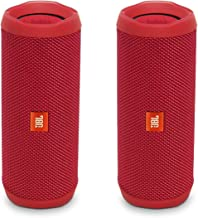 JBL Flip 4 Waterproof Portable Wireless Bluetooth Speaker Bundle - (Pair) Red