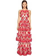 Marchesa Notte - 3D Embroidered Gown w/ Sleeveless Bodica and Two Tiered Skirt