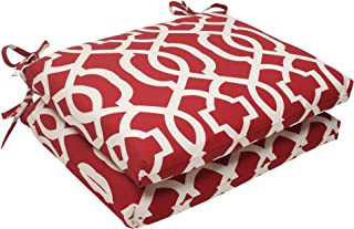 Pillow Perfect Indoor/Outdoor New Geo Squared Seat Cushion, Red, Set of 2