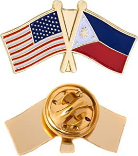 Philippines Country Double Flag Lapel Pin Enamel with United States USA US Souvenir Hat Men Women Patriotic (Double Flag Pin)