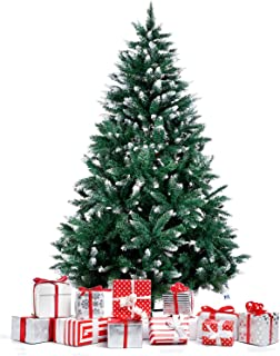 Amzdeal Christmas Tree, 6 FT Artificial Christmas Tree with Snow Tips Sturdy Metal Stand Easy Assembly Fir Xmas Tree
