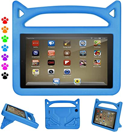 Kindle Fire 7 Case 2017/2015, Huaup Kids Light Weight Shock Proof Friendly Convertible Stand Protective Handle Cover Case for Amazon Kindle Fire 7 inch (7th/5th 2017/2015) (Blue)