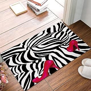 Fashion Zebra Pink High Heels Print Absorbent Bath Mats Indoor Kitchen Floor Bathroom Entrance Rugs Home Decor Doormat Carpets Non Slip Rubber Backing Black & White