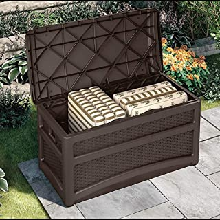 Suncast 73 Gallon Resin Wicker Patio Storage Box with Wheels and Seat - Water Resistant Outdoor Storage Container for Toys, Furniture, Yard Tools - Store Items on Deck, Porch, Yard - Mocha