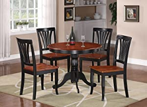 East-West Furniture Dining Set- 4 Excellent Wood Chairs - A Beautiful Dinner Table- Wooden Seat - Cherry And Black Dining Table