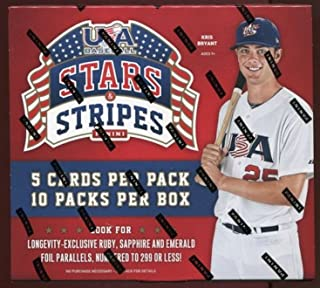 2015 Panini USA Stars & Stripes Baseball Factory Sealed Retail Box with 10 Packs! Includes FOUR(4) AUTOGRAPH or MEMORABILIA Cards ! Look for Autographs of Current and Former USA Baseball National Team Stars including Kris Bryant, Joey Gallo, Kyle Schwarber and Many More !