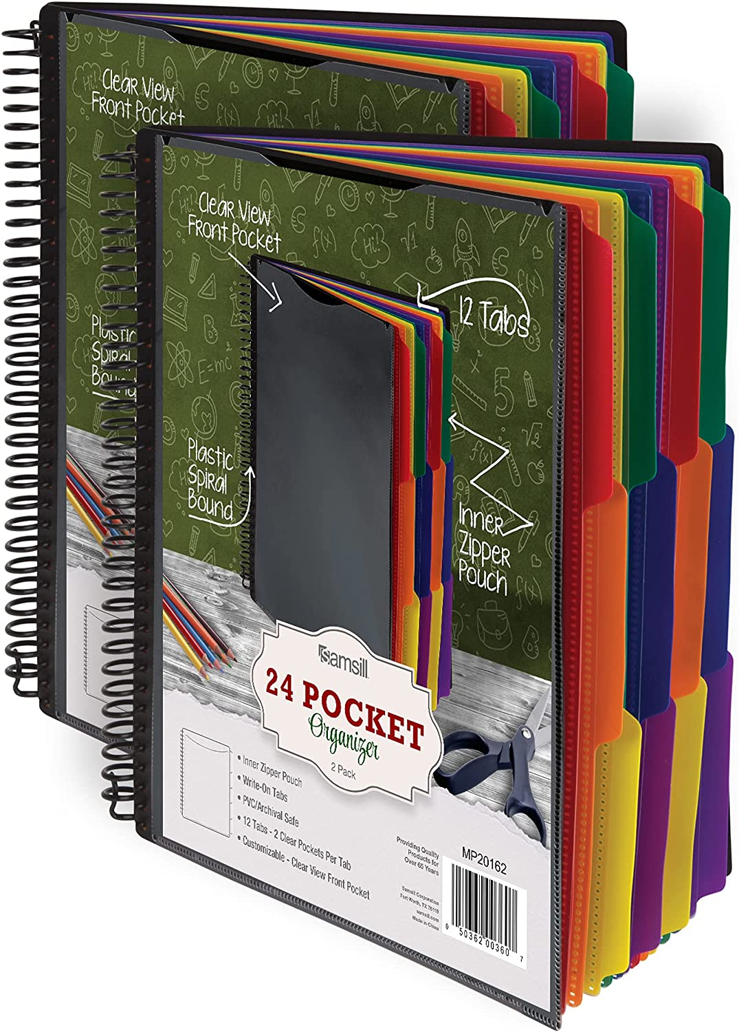 Samsill 2 Pack 24 Ranking TOP15 Pocket Spiral Sale Project Organizer Divid 12 with