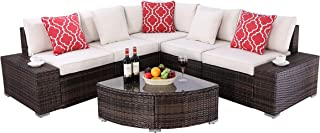 Do4U 6 Pieces Outdoor Patio Furniture Sectional Conversation Set, All-Weather Wicker Rattan Sofa Beige Seat & Back Cushions (3506-MIX-6 Pieces)