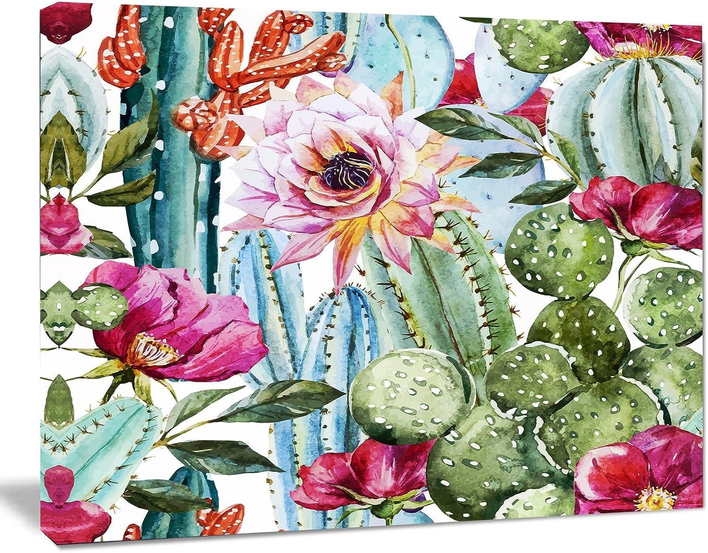 Designart PT78562012 Cactus Pattern Watercolorfloral Digital Art Canvas Print,20x12