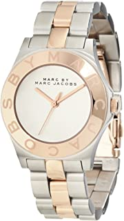 Marc By Marc Jacobs Mbm3129 Women's Blade Rose Gold Tone Bezel Silver Dial Two Tone Stainless Steel Bracelet Watch, Analog Display