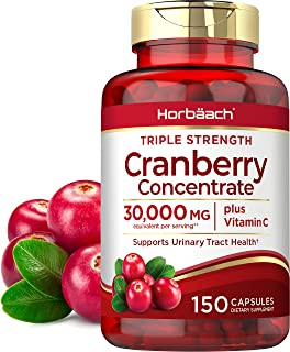 Horbaach Cranberry (30,000 mg) + Vitamin C 150 Capsules | Triple Strength Ultimate Potency | Non-GMO, Gluten Free Cranberr...