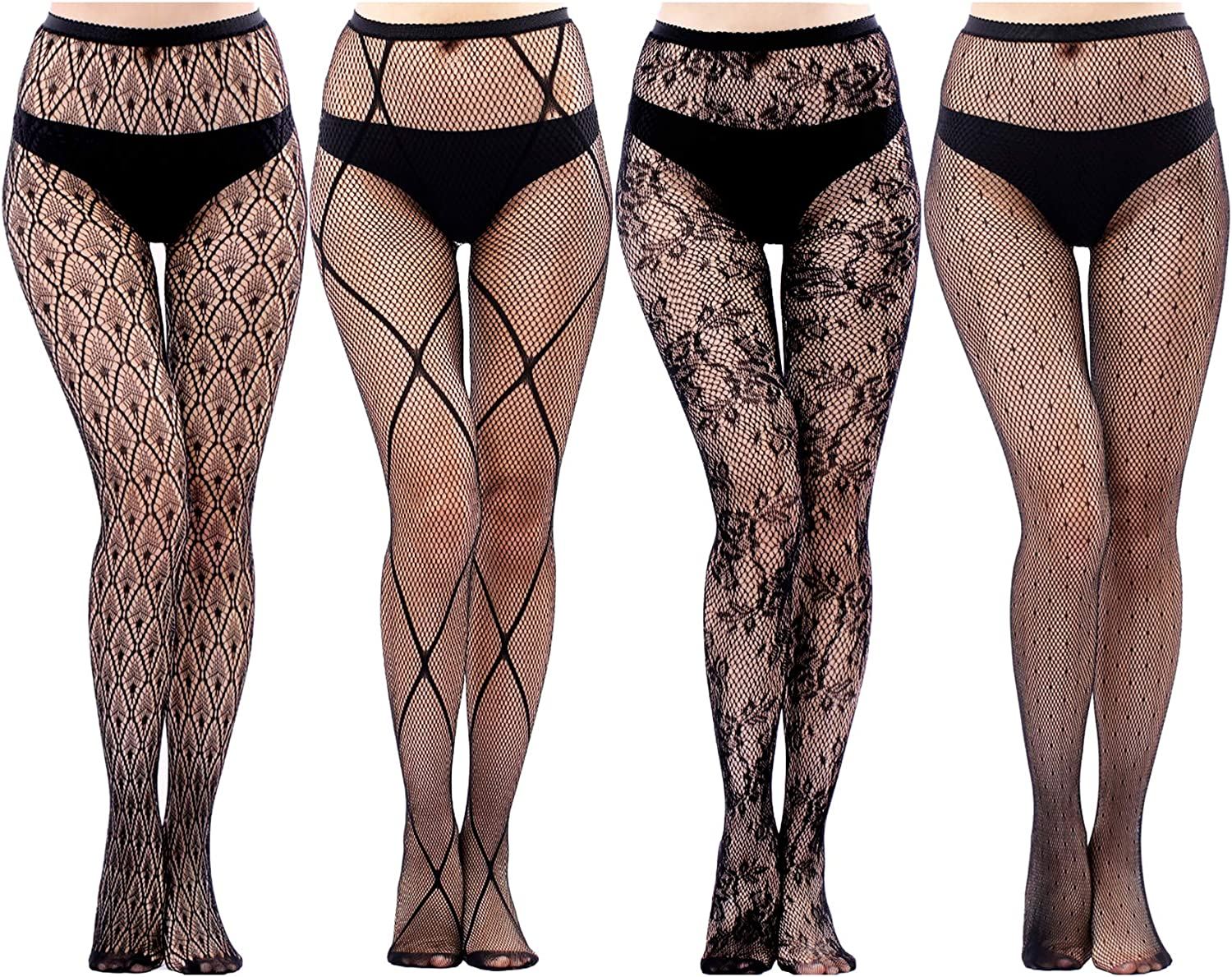 4/5 Pairs Womens Fishnet Stockings Thigh High Fishnet Tights Suspender Pantyhose for Women