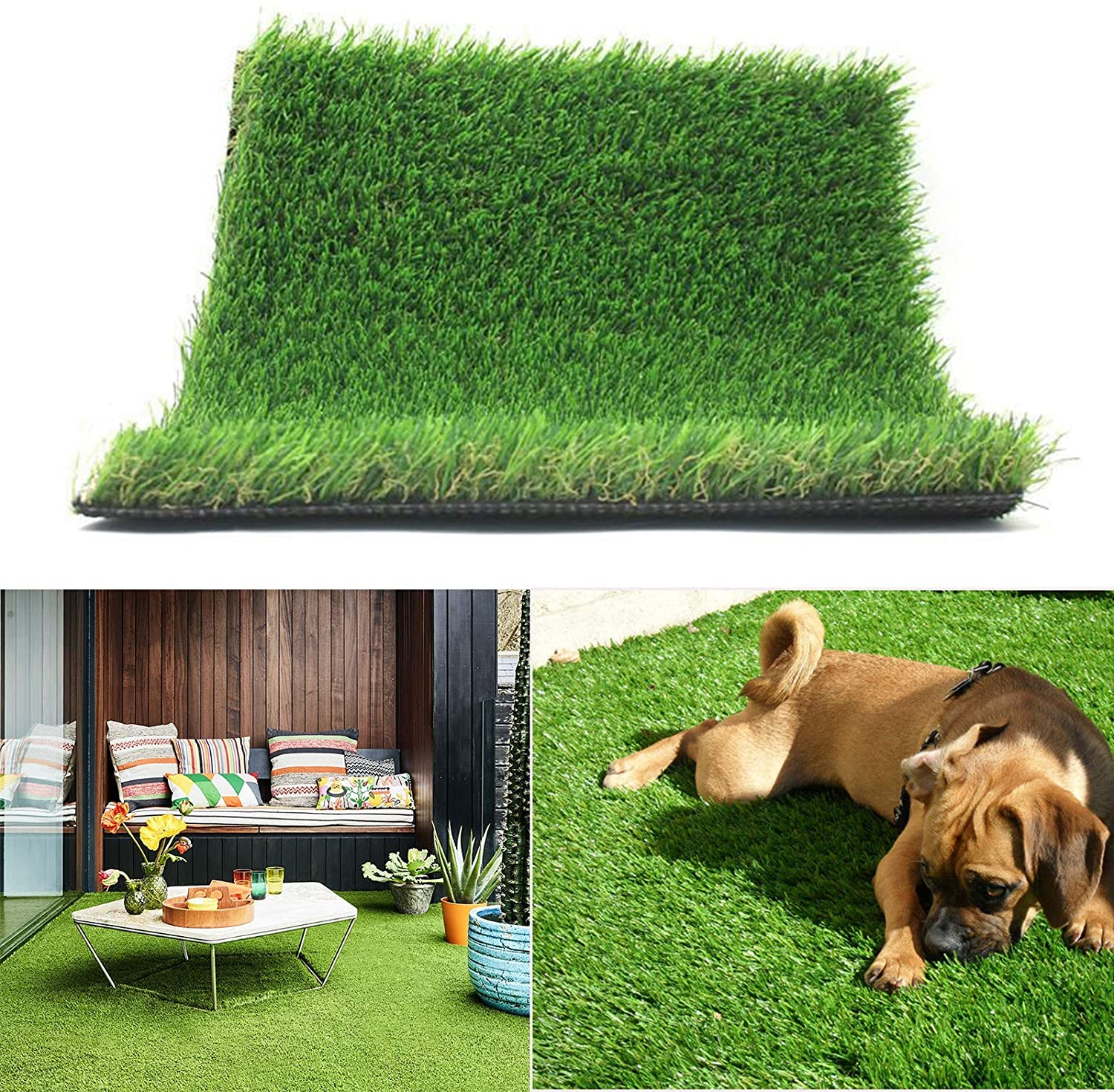 Realistic Thick Artificial Grass Turf -Indoor Outdoor Garden Lawn Landscape Synthetic Grass Mat - Thick Fake Grass Rug (4FTX6FT(24 Square FT))