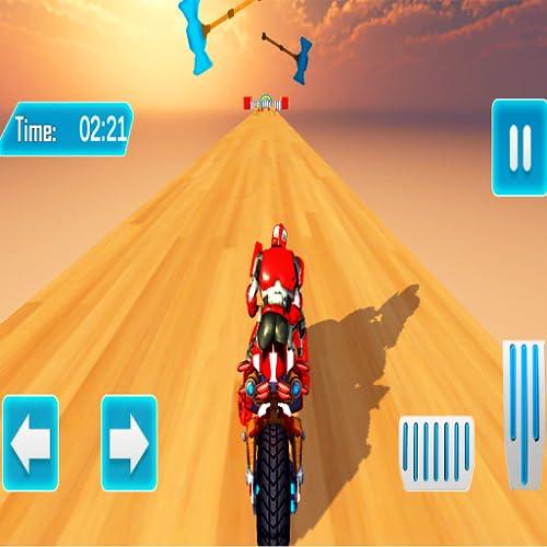 Super Stunt Robot Motor Bike Craziest Mega Ramp Impossible Tracks Driving Simulator - Ultimate Stunt Master 3D Games 2020 - Modern Robot Bike Racing Games