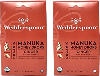 Wedderspoon Organic Manuka Honey Drops (Ginger Pack of 2)