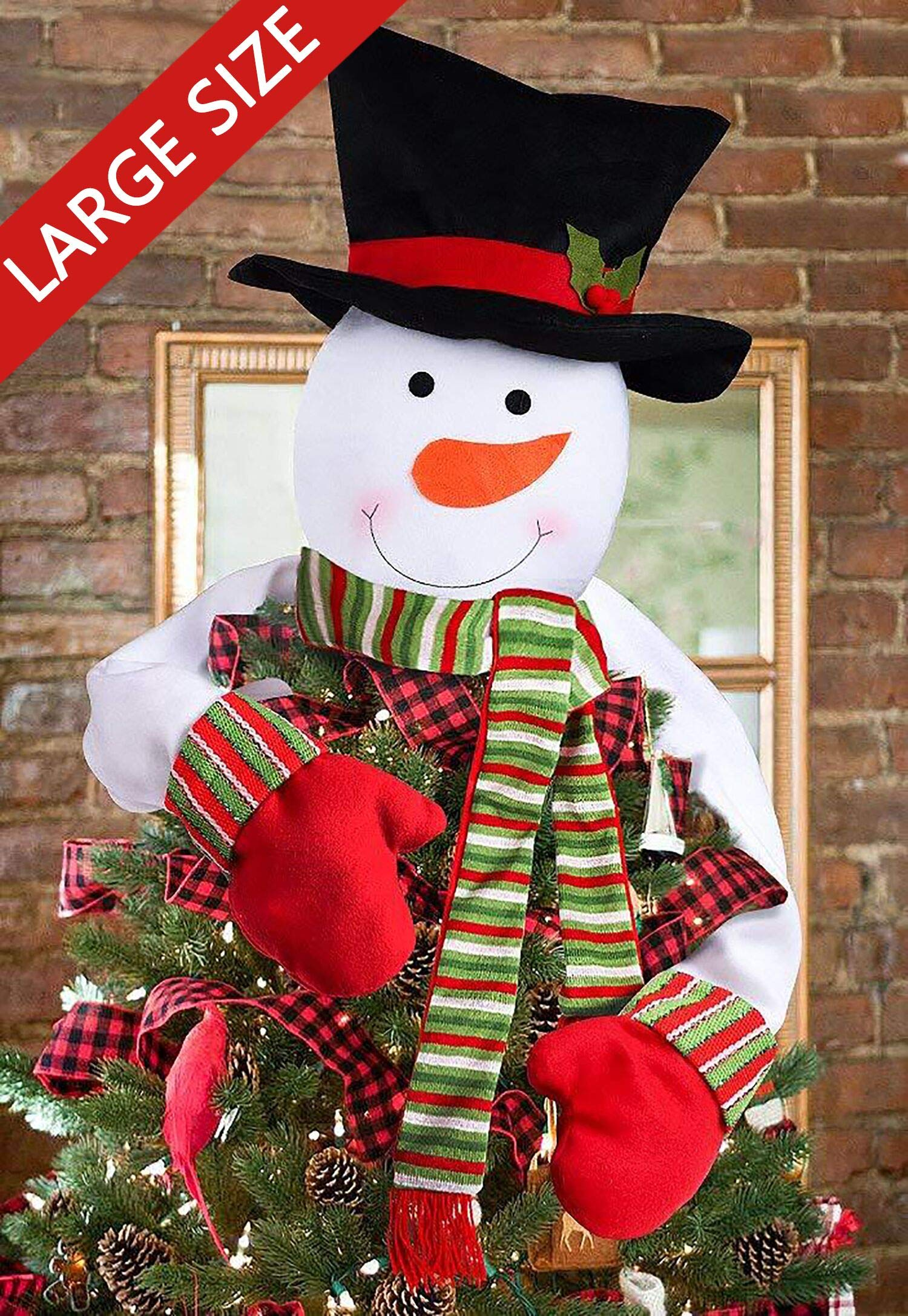 Image of Colorful Snowman Christmas Tree Topper
