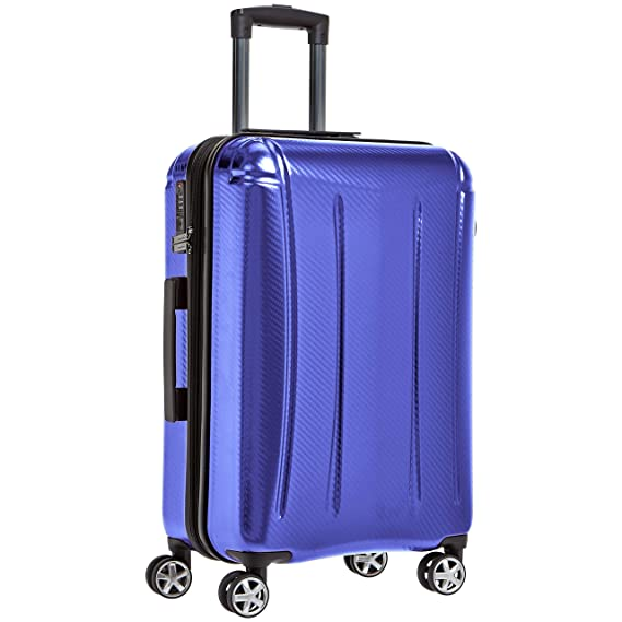 AmazonBasics Oxford Expandable Spinner Luggage Suitcase with TSA Lock   24 Inch, Blue Suitcases   Trolley Bags