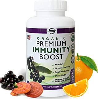 Organic Premium Immunity Boost | Immune Support Supplement for Adults with Vitamin C 500mg, Vitamin D3, Elderberry, Zinc, ...