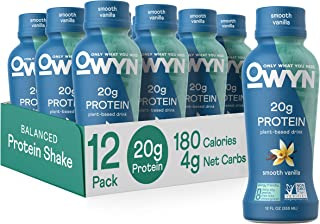 OWYN - 100% Vegan Plant-Based Protein Shakes | Vanilla, 12 Fl Oz (Pack of 12) | Dairy-Free, Gluten-Free, Soy-Free, Tree Nut-Free, Egg-Free, Allergy-Free, Vegetarian