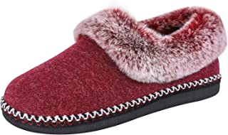 EverFoams Women's Luxury Wool Slippers with Fluffy Faux Fur Collar and Handmade Lace Decor