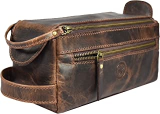 Leather Toiletry Bag for Men 9 Inch | Grooming Travel Kit | With Waterproof Lining | By Aaron Leather (Walnut)