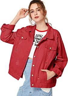 aa6f7fccde11 Floerns Women s Ripped Distressed Casual Long Sleeve Denim Jacket