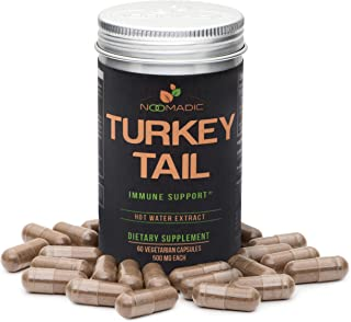 Turkey Tail Mushroom, 60 Capsules, 500mg Each, Immune Support, Hot Water Extract, Wild Harvested, Fruiting Bodies, 30% Beta-D-Glucans, Also Known as Trametes Versicolor, Coriolus Versicolor, Yun Zhi