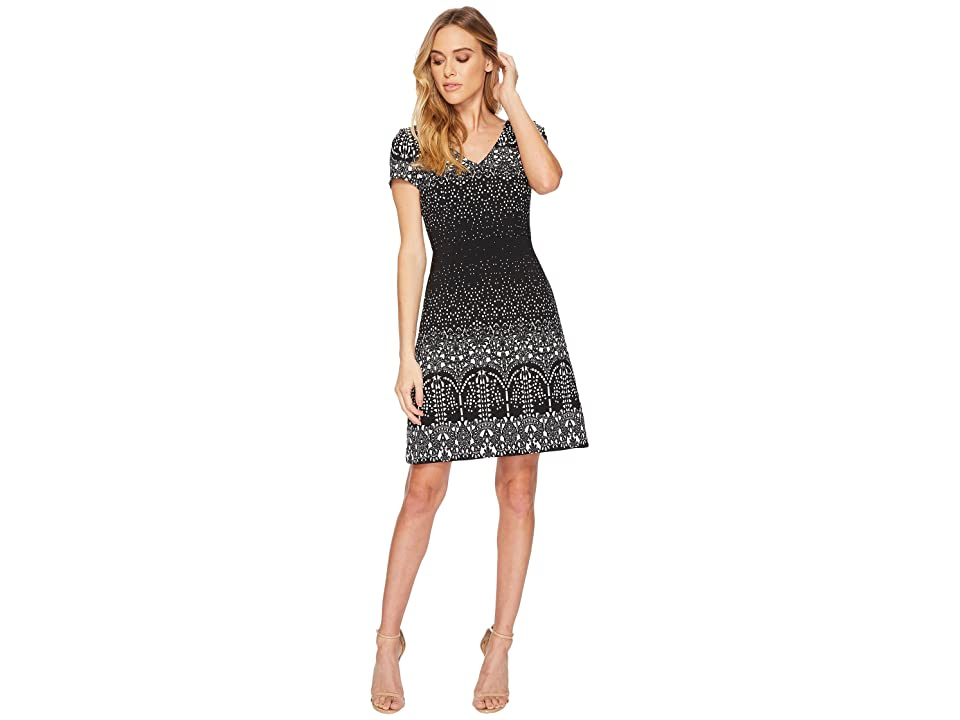 Adrianna Papell Lace Majesty Printed A-Line (Black Multi) Women
