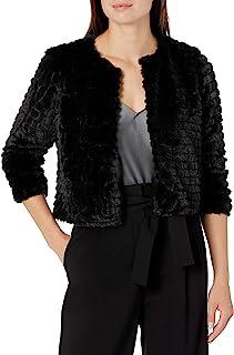Calvin Klein Womens CD5R1J6E Long Sleeve Faux Fur Shrug 3/4 Sleeve Shrug Sweater - Black - Medium