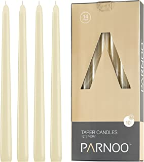 Light In The Dark Ivory Taper Candles - Set of 14 Dripless Candles - 12 inch Tall, 3/4 inch Thick - 10 Hour Clean Burning