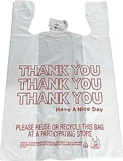 "Reli. Thank You T-Shirt Bags (350 Count), Plastic - Bulk Shopping Bags, Restaurant Bag - T-Shirt Plastic Bags in Bulk - (11.5"" x 6.5"" x 21"") White/Thank You"