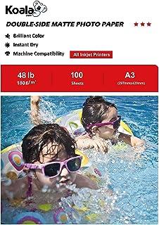 KOALA Papel fotográfico de doble cara mate para inyección de tinta A3 297x420 mm 100 hojas 180 g/m²